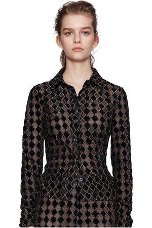 STINE GOYA Nevena Jersey Lurex Burnout - Diamond Cedar Shirt
