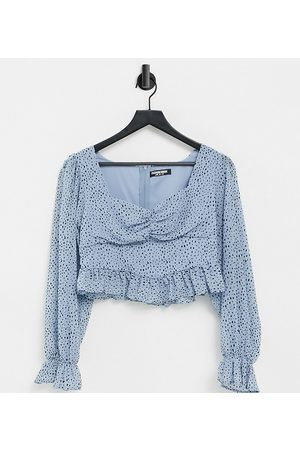 Fashion Union Milkmaid blouse with frill edge in polka dot-Blue
