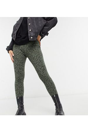 Vero Moda Vero More Petite leggings in green animal print-Multi