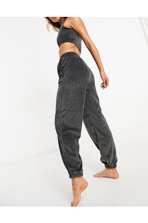 ASOS Mix & match lounge velour oversized jogger with seaming in charcoal-Grey