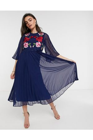 ASOS Double layer pleated embroidered midi dress in navy