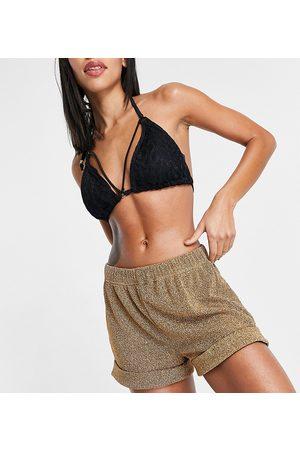 South Beach Dame Shorts - Metallic beach shorts in gold