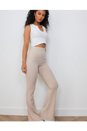 Missguided Dame Slengbukser - Ribbed flare trouser in stone