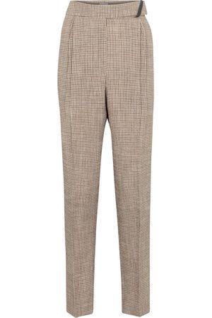 Brunello Cucinelli Dame Bukser - Checked linen-blend pants