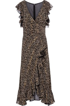 Costarellos Jolecia leopard-print chiffon wrap dress