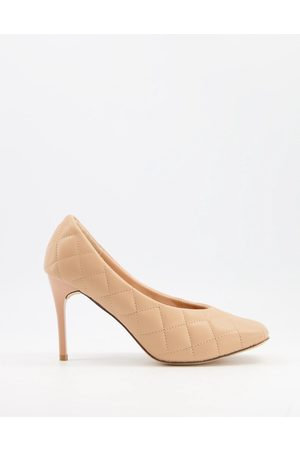 Truffle Collection Dame Høye hæler - Quilted heeled shoes with square toe in beige-Blue