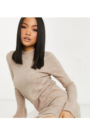 ASOS ASOS DESIGN Petite knitted dress with bell sleeve detail in oatmeal