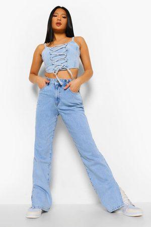 Boohoo Petite High Waist Split Hem Jean