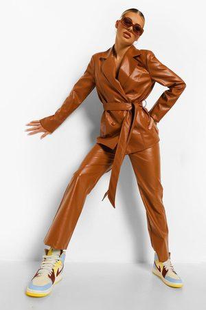Boohoo Leather Look Straight Leg Trousers