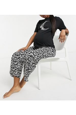 Wednesday's Girl Pyjama top and bottoms set in celestial moon and star print-Black