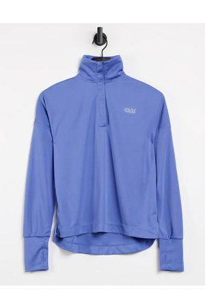 ASOS Icon long sleeve top with 1/4 zip-Blue