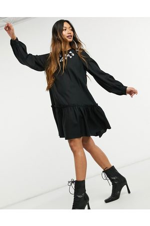 & OTHER STORIES Embroidered detail mini smock dress in black