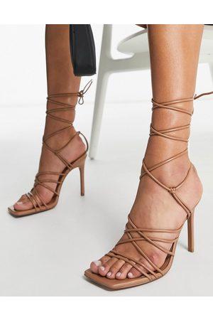 ASOS Nina strappy tie leg heeled sandals in -Neutral