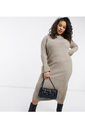 ASOS ASOS DESIGN Curve knitted dress with bell sleeve detail in taupe-Neutral