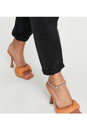 ASOS Wide Fit Niki padded twist high heeled mules in -Neutral