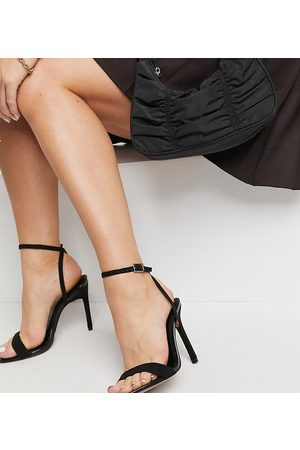 ASOS Wide Fit Nala barely there heeled sandals in black
