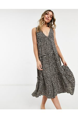 ASOS Button front tiered midi sundress in leopard print-Multi