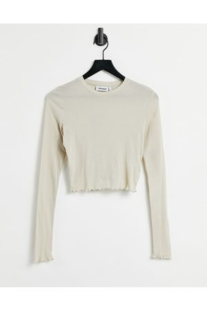 Weekday Sena long sleeve top with lettuce edge in light -Neutral