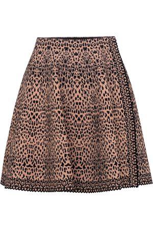 Alaïa Dame Miniskjørt - Leopard-jacquard stretch-knit miniskirt
