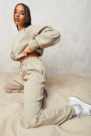 Boohoo Official Cropped Sweater Tracksuit