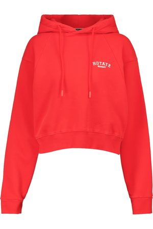 ROTATE Dame Hettegensere - Cropped cotton jersey hoodie