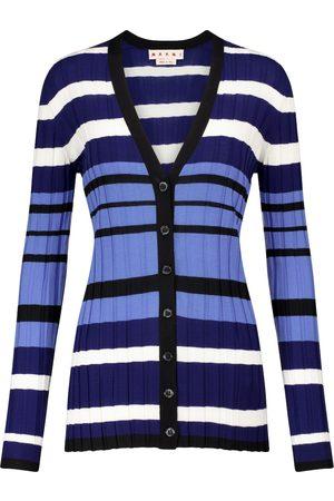 Marni Striped ribbed-knit wool cardigan