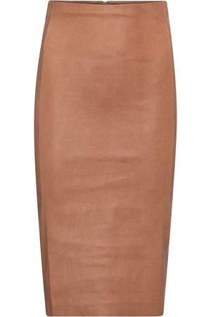 Stouls Dame Skinnskjørt - Scarlett high-rise leather midi skirt