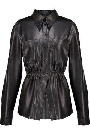 Nanushka Dame Langermede - Thalita ruched faux leather shirt
