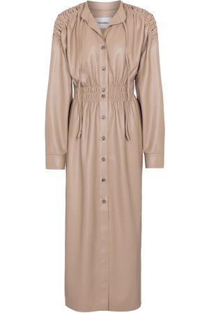 Nanushka Jayce ruched faux leather midi dress