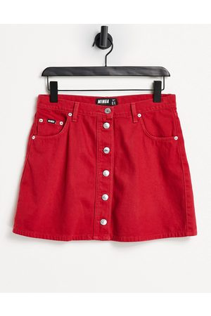 Minga London a line mini denim skirt in red with contrast buttons