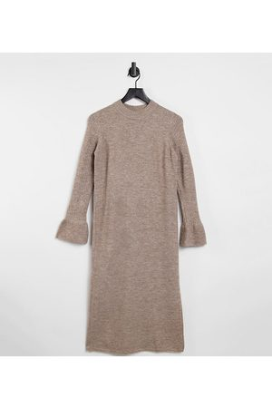 ASOS ASOS DESIGN Maternity knitted dress with bell sleeve detail in taupe-Stone