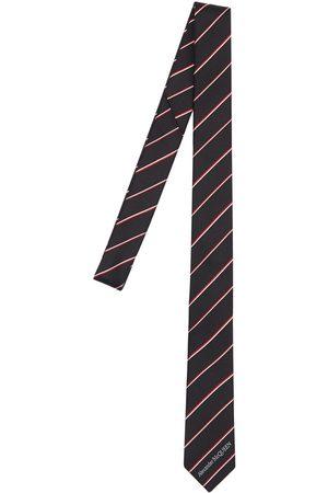 Alexander McQueen 50mm Logo Striped Silk Tie