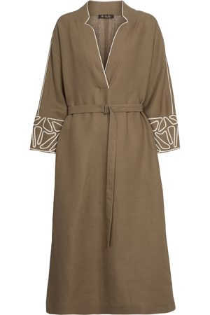 Loro Piana Melodie embroidered linen midi dress