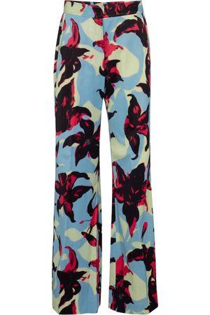 DRIES VAN NOTEN Floral wide-leg satin pants
