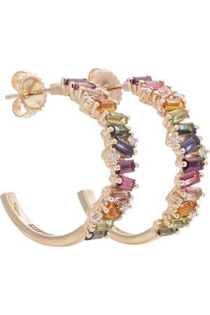 Suzanne Kalan Frenesia Rainbow 14kt yellow gold hoop earrings with topaz and diamonds