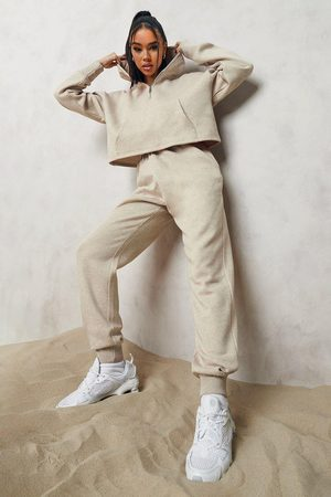 Boohoo Dame Loungewear - Overdyed Official Half Zip Cropped Tracksuit