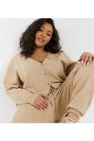 ASOS ASOS DESIGN Curve co-ord knitted jogger in camel-Stone