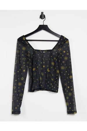 Noisy May Mesh top with square neck in black celestial print