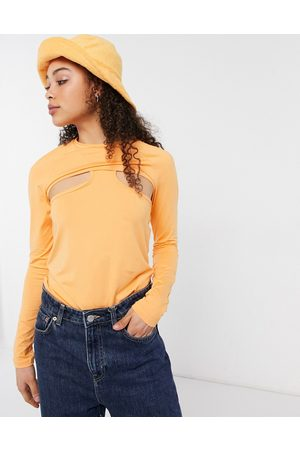 Weekday Shelly long sleeve layered top in orange