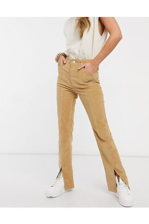 ASOS High rise 'sassy' cigarette jeans with split front in camel cord-Multi