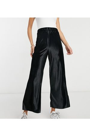 ASOS Dame Leggings - ASOS DESIGN Tall culotte trouser in velour in black