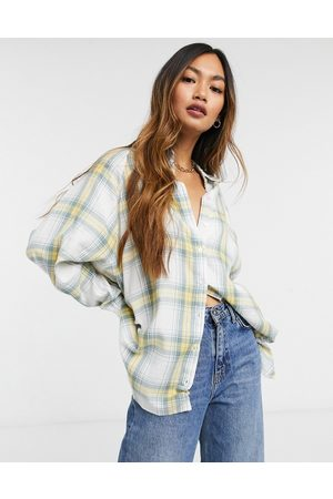 ASOS WFH long sleeve boyfriend shirt in washed green and yellow check-Multi