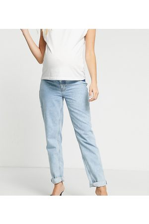 ASOS Dame High waist - ASOS DESIGN Maternity high rise 'original' mom jeans in lightwash with elasticated side waistband-Blue