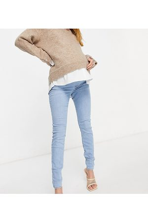 ASOS ASOS DESIGN Maternity high rise ridley 'skinny' jeans in stonewash with with over the bump waistband-Blue