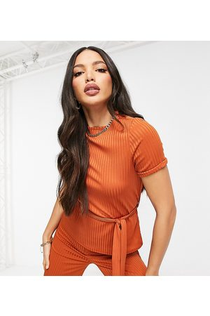Club L London Ribbed t-shirt with belt in orange co-ord