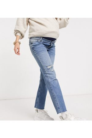 ASOS ASOS DESIGN Maternity high rise stretch 'effortless' crop kick flare jeans in midwash with thigh rip and over the bump w-Blue