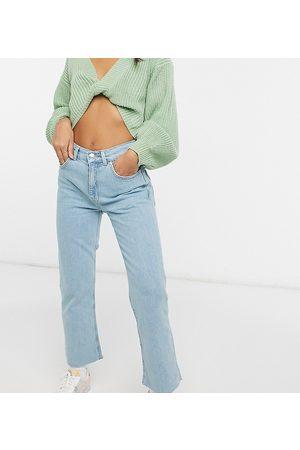 ASOS ASOS DESIGN Petite high rise stretch 'effortless' crop kick flare jeans in pretty lightwash-Blue