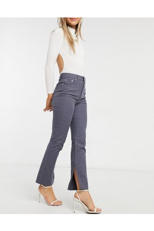 ASOS High rise 'sassy' cigarette trousers with split hem in navy check