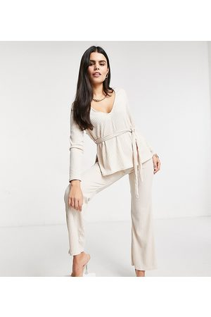 Club L London Ribbed plunge neck top in cream co-ord-Black