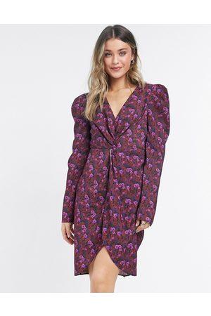 NA-KD Floral print knot front mini dress in purple